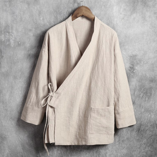 Men Linen Shirts Long Sleeve Chinese Style Mandarin Collar Traditional Kung Fu Tang Casual Social Shirt Plus Size M-4XL 5XL 6XL