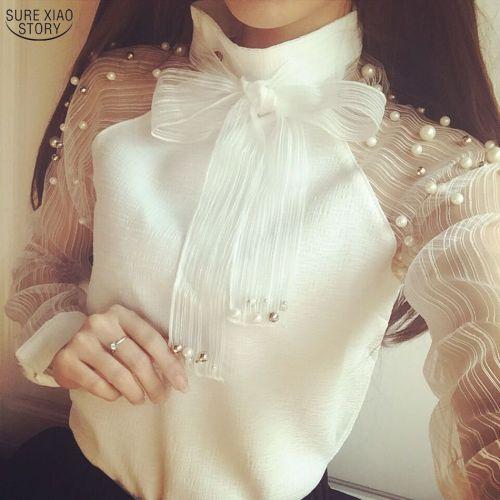 2019 New spring elegant organza bow of Pearl White blouse casual chiffon shirt women blouses tops blusas femininas 607I 25