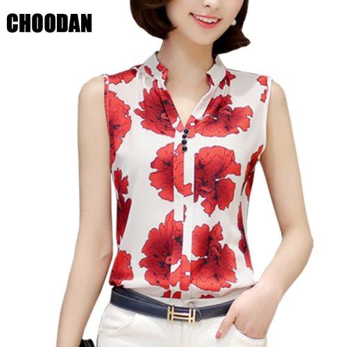 Women Blouses And Shirts 2018 Summer Korean Elegant Sleeveless Flower/Butterfly/Plaid Print Shirt Ladies Tops Female Clothing