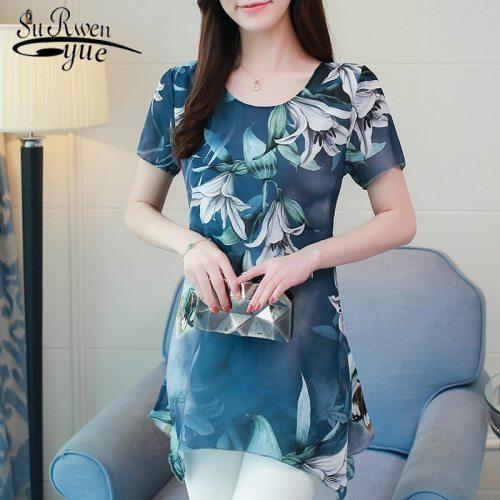 new fashion plus size 4XL chiffon women blouse shirt short sleeve summer tops print chiffon blouse shirt clothing blusas 0187 30