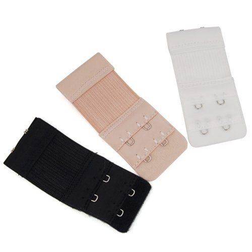3Pcs Ladies Electric Goal Hooks Bra Extenders Strap Extention Strap White Black Nude Clasps 2x3