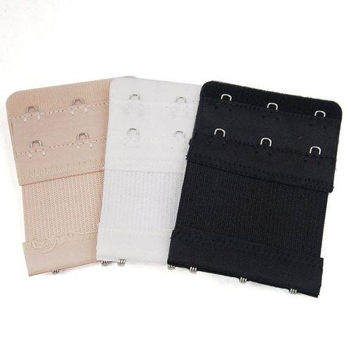 Women Bra Strap Extender 2 Rows 3 Hooks Nylon Bra Extenders Elastic Adjustable Clasp Bar Strap Connector Bra Accessories
