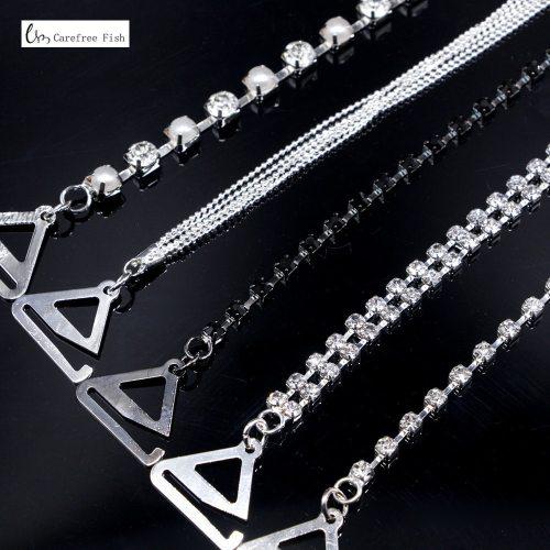 Carefree Fish New Silver Plated Metallic Sexy Rhinestone Bra Straps For Women Elegant Crystal Bra Shoulder Lingerie Accessories