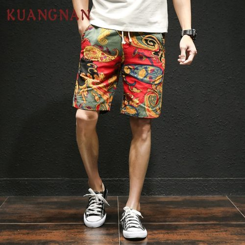 KUANGNAN Japanese Casual Shorts Men Drawstring Printed Streetwear Mens Shorts Summer Men Shorts Cotton Linen Clothes 2018