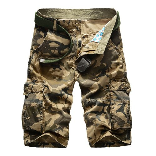 Camouflage Cargo Shorts Men 2019 New Mens Casual Shorts Male Loose Work Shorts Man Military Short Pants Plus Size 29-44 No Belt