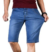 Big Size 40 42 44 46 2019 Summer New Men Business Denim Shorts Fashion Casual Stretch Slim Blue Short Jeans Male