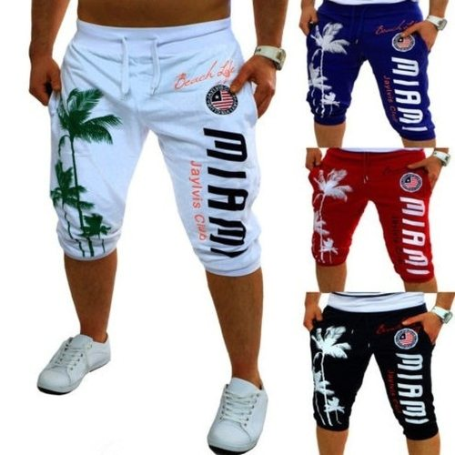 Zogaa Summer Men Knee Length Shorts Color Patchwork Joggers Short Sweatpants Trousers Men Bermuda Shorts Roupa Masculina