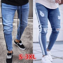 NIBESSER 2019 Skinny Jeans Men Sexy Ripped Hole Stretch Denim Trousers Male Autumn Straight Streetwear Pencil Jeans Plus Size