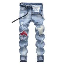 Famous TANGYAXUAN Brand Fashion Designer Jeans Men Straight Dark Blue Color Printed Mens Jeans Ripped Jeans,96% Cotton