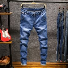 Skinny jeans men Drawstring Slim Fit Denim Joggers Stretch Male Jean Pencil Pants Blue Men's jeans fashion Casual Hombre