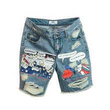 Jean Shorts Men Ulzzang Points Trousers Summer Pattern Knee Length Medium Zipper Fly Midweight Jeans Dsq Mens Sale 2019 New