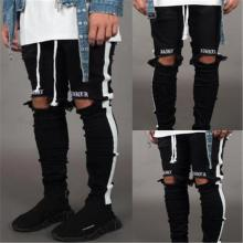 BDLJ 2019 Men Stylish Ripped Jeans Pants Biker Skinny Slim Straight Frayed Denim Trousers New Fashion Skinny Jeans Men Clothes