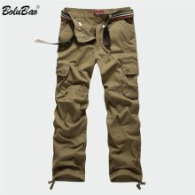 BOLUBAO New Men Cargo Pants Men Multi Pockets Pants Military Camouflage Track Pants Trousers Mens Elastic Waist Pant