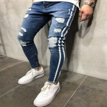 Trendy Men Skinny Jeans Biker Destroyed Frayed Fit Denim Ripped Denim Pants Side Stripe Pencil Pants Hip Hop Streetwear