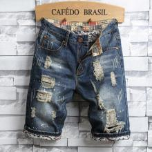 2018 New Men's Denim Shorts Hole Paint Personality Denim Pants Fashion Skinny Simple Cotton Comfortable Male Destroyed Jeans