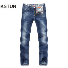 KSTUN Men's Jeans Summer Thin Business Casual Slim Straight Jeans Stretch Denim Pants Trousers Classic Cowboys Young Man Jean 38