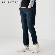 SELECTED Men Jeans Lycra Slight Stretch Vintage Slim Autumn & Winter Fit Denim Pants Streetwear Moustache Effect S|418332532
