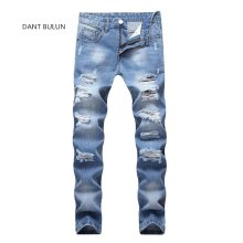 2019  New Fashion Men Holes Jeans European High Street Motorcycle Biker Jeans Men Hip Hop Ripped Slim Jeans pants Dropshipping