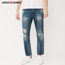 Jack & Jones Brand men jeans fasion holes cotton and linen slim long male jeans mens ripped jeans |217232518