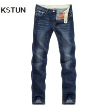 KSTUN Men Jeans Famous Brand 2019 Slim Straight Business Casual Dark Blue Thin Elasticity Cotton Denim Pants Trousers pantalon