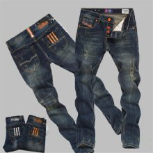 2019 New Hole Ripped Stretch Famous Fashion Designer Button Jeans Men Straight Dark Blue Color Printed Mens Jeans Ripped Jeans