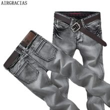 AIRGRACIAS Mens Jeans Classic Retro Nostalgia Straight Denim Jeans Men Plus Size 28-38 Men Long Pants Trousers Brand Biker Jean
