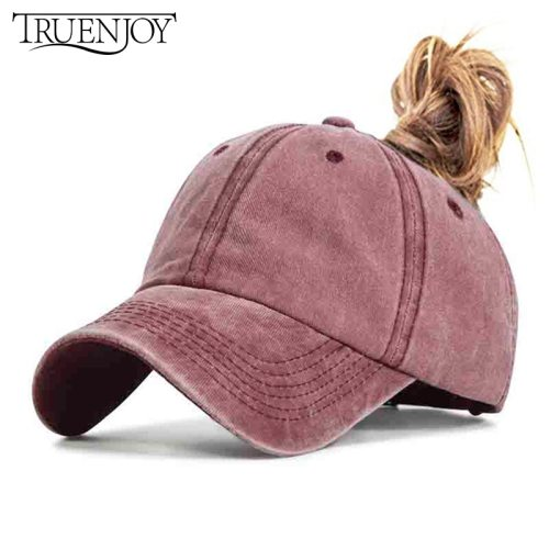 TRUENJOY 2019 Women's Ponytail Baseball Cap Fashion Snapback Summer Wash Hats Casual Sport Caps Drop Shipping bone gorras