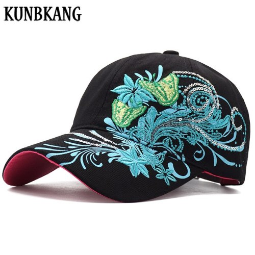 Women Fashion Flower Butterfly Baseball Cap Woman Embroidery Cotton Snapback Hat Bone Casquette Female Summer Casual Hip Hop Cap