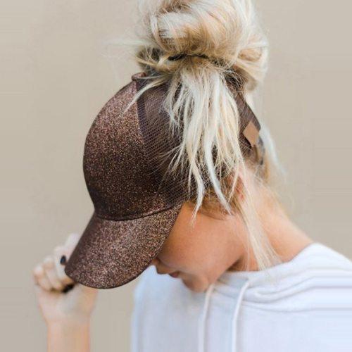 Hot New Glitter Ponytail Baseball Cap Summer Dad Hats For Women 2018 Snapback Hip Hop Caps Messy Sequins Shine Mesh Trucker Hat