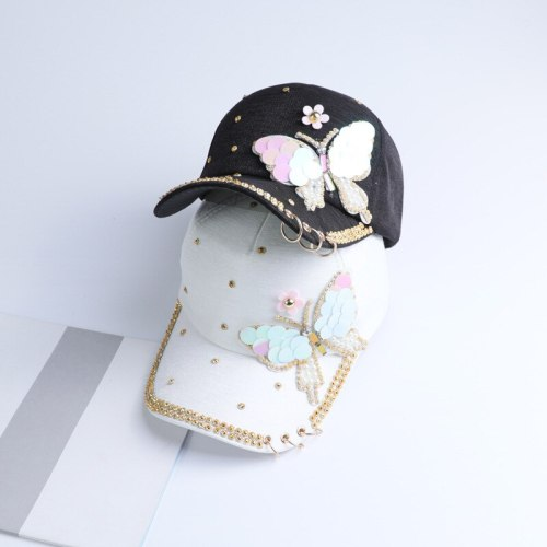 Summer Plain Cotton Women Metal Baseball Cap Snapback Hip Hop Caps 2018 Casual Butterfly Sequins Baseball Caps Hats