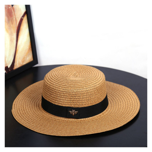 Sun Hats Small Bee Straw Hat European and American Retro Gold Braided Hat Female Loose Sunscreen Sunshade Flat Cap Visors Hats