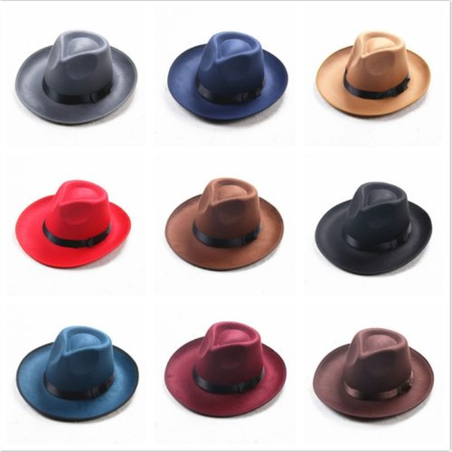 Winter Vintage Warm Sun-shade Panama Fshion   Gangster Cap Hard Wide Brim Fedora Trilby  Felt Hat British Style Women  Men