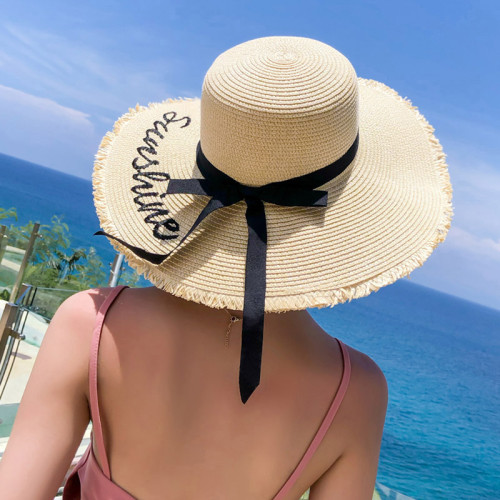 Embroidery Summer Straw Hat Women Wide Brim Sun Protection Beach Hat 2019 Adjustable Floppy Foldable Sun Hats for Women Ladies