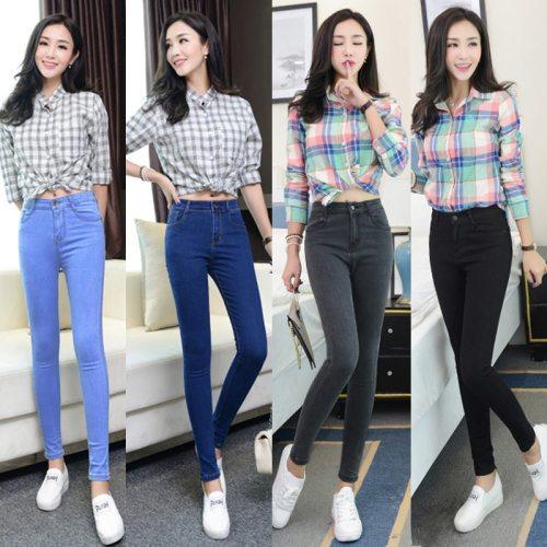 Women jeans Plus Size High Waist Stretch Washed Skinny Jeans Woman Denim Pants  2019  Pencil Light Blue Gray Black hot sale