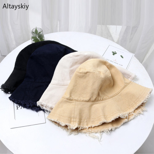 Bucket Hats Women Solid Vintage Sun Shading Summer Beach Womens Hat Simple Harajuku Japanese Style Trendy Chic All-match Leisure