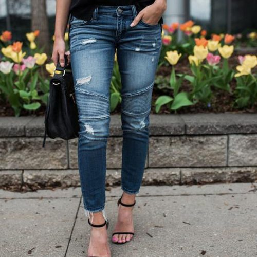 Women Denim Skinny Pants Ripped Destroyed Pleated Stretch Jeans Slim Pencil Trousers