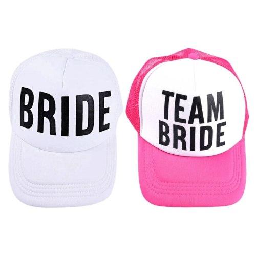 BRIDE TO BE TEAM BRIDE Bachelorette Hats Women Wedding Preparewear Trucker Caps White Neon Summer Mesh