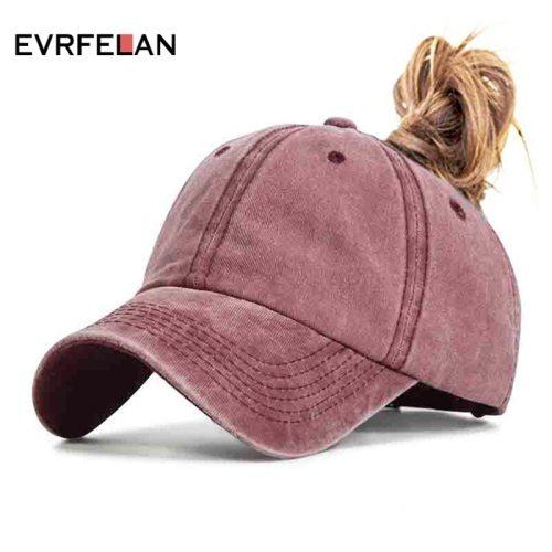 Evrfelan Fashion Design Ponytail Baseball Cap for Women Snapback Dad Hat Female Wash Hat Summer Sport Sun Hat bone Ladies gorras