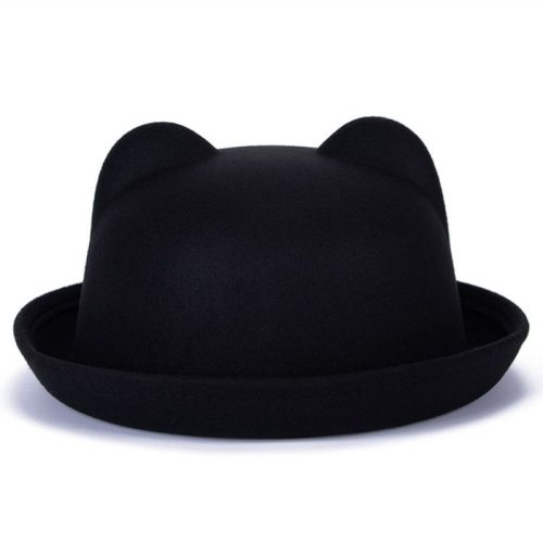 Beautiful Cute Women Devil Hat Cute Cat Bear Ears Seaside shade Wool Derby Bowler Cap Bonito