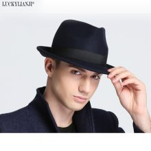 LUCKYLIANJI Retro Hard Felt Women Men Fold Wide Brim Billycock Sag Top Bowler Derby Jazz Fedora Panama Casual Hats (Size:57cm)