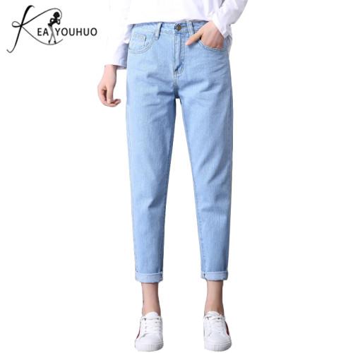 2019 Wash Bleaching Mom Pants Boyfriend Jeans For Women Denim Skinny Jeans Woman High Wais Loose Vintage Large Size Female Jeans
