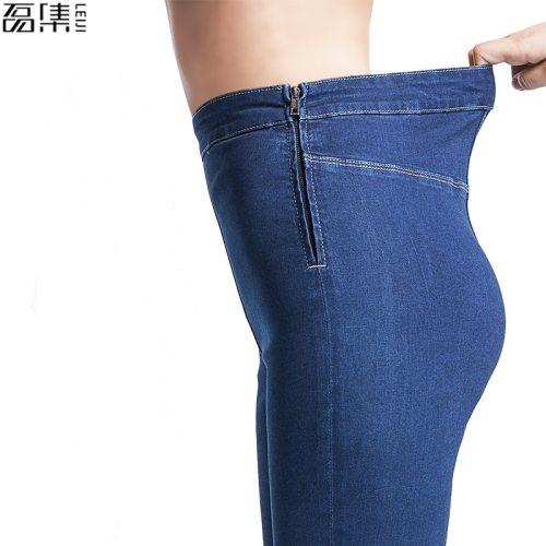 Jeans Woman autumn summer  High Waist Plus Size Stretch full Length  Skinny Slim denim Pants for women 4XL 5XL 6XL