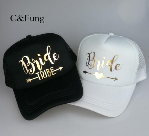 C&Fung Bride Tribe Bachelorette Snapback Trucker Hat Cap Team Bride gold letters Arrow bride to be bride tribe baseball hats
