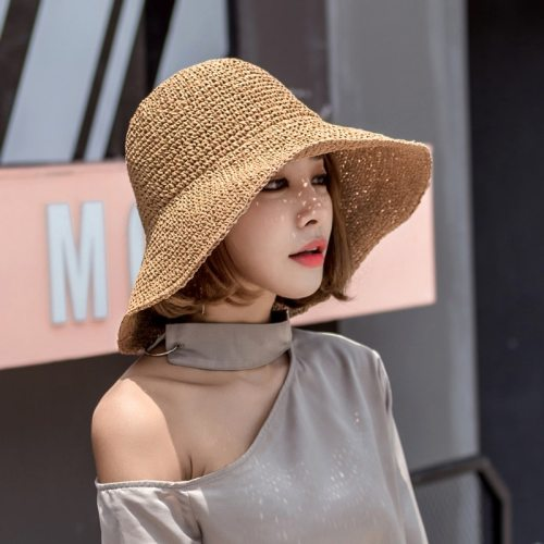 Fashion Lady Straw Hat Women Summer Sun Visor Sunhat Panama Boater Floppy Bucket Cap Female Woman Summer Hat Straw Beach