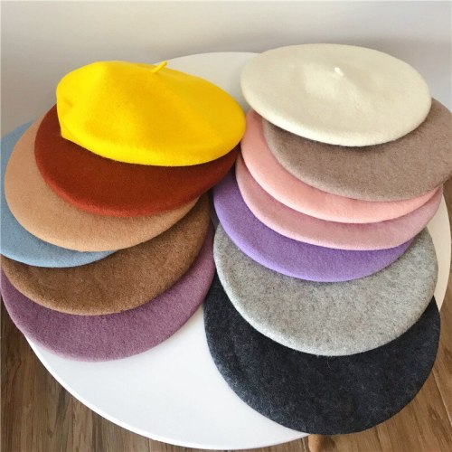 New Felt Wool Solid Color Beret Caps Female Bonnet Women caps Lady Painter All Matched Warm Artist Hat Wholesale