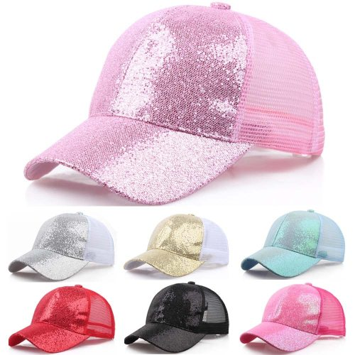 2019 Women Girl Ponytail Hat Baseball Cap New Fashion Baseball Sequins Shiny Messy Bun Snapback Sun Caps бейсболка
