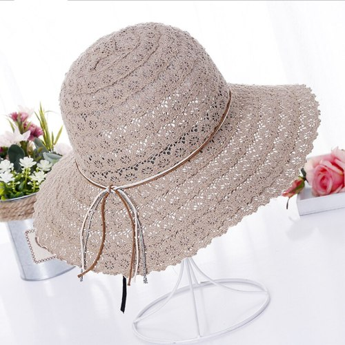 2017 summer fashion Foldable Cotton Beach bow sun hats for Women Fashion Design Women Beach Sun Hat Foldable Brimmed Straw Hat
