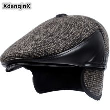 XdanqinX 2019 Winter Style New Men's Hat Woolen Thick Warm Berets With Earmuffs Male Bone Dad's Hat Trucker Winter Hats For Men