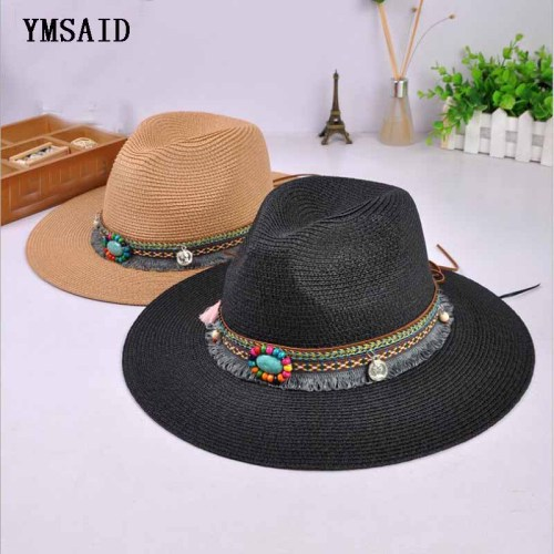 New Spring Summer Bohemia Style Women's Jazz Caps hats with Wide Birm Women Straw Vintage Hat Floppy Sun Beach Church Cap Gorros