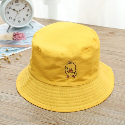 New Cartoon Duck Pattern Funny Embroidery Panama Fashionable Hats Men and Women's Summer Outdoor Children Hip-Hop Fisherman Hats